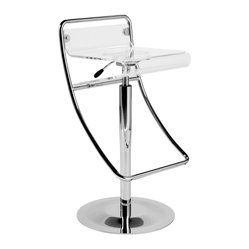 Angelita Bar Stool-Acryl - This sleek clear acrylic and chromed steel take on the traditional bar stool will update any kitchen or bar. And no matter what the height of your counter, this cool stool features a gas lift and swivel for easy adjustments.