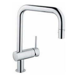 Grohe - Minta Chrome Pull Down Kitchen Faucet - With a unique square design, this Minta pull down kitchen faucet features a chrome finish and an adjustable spray. With a single lever-handle, this faucet will bring contemporary styling with long-lasting durability to your decor.