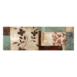 YOSEMITE HOME DECOR - Pressed Flowers II - Stunning floral and classic imprints on a heavily textured acrylics in hues of dominantly cream, green, and brown, slight tint of reddish brown in imprints