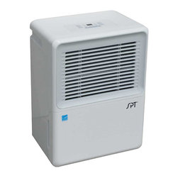 SPT Appliance - Dehumidifier with Energy Star (30 Pints Per D - Choose Capacity: 30 Pints Per DayHose not included for continuous drainage option. Designed to remove excess moisture from home quietly and efficiently. Choice of continuous de-humidifying or 35-85 perc. humidity setting - in increments of 5 %. Remove moisture from the musty air. Full bucket indicator with auto shut-off. Memory IC - unit restarts at previous setting after power failure. Washable air filter with reminder indicator. Removable bucket. Caster for easy mobility. Time delay auto protection. Two fan setting: Normal and turbo. One to 24-hour timer. Soft touch electronic control panel. UL approved. EEV Circuit: 1.85L / kW.H. Power supply: 115 volt / 60 Hz.. Working temp range: 41-95ºF and 25 perc. RH or above. Off-white color. 30 Pints Per Day Capacity:. Water tank capacity: 3 liters. Power consumption: 310 watt / 3.0 A. Starting current: 14 A. Noise level - high: 56. Air flow CFM - high/low: 245 / 210 m3h. Applicable area: 200 sq.ft.. Refrigerant: CFC free R410a / 5.64 oz. 14.17 in. W x 10.24 in. D x 19.88 in. H (29 lbs.). 40 Pints Per Day Capacity:. Water tank capacity: 3 liters. Power consumption: 450 watt / 4.5 A. Starting current: 21 A. Noise level - high: 56. Air flow CFM - high/low: 245 / 210 m3h. Applicable area: 275 sq.ft.. Refrigerant: CFC free R410a / 6.0 oz. 14.17 in. W x 10.24 in. D x 19.88 in. H (30 lbs.). 60 Pints Per Day Capacity:. Water tank capacity: 6 liters. Power consumption: 550 watt / 4.9 A. Starting current: 28 A. Noise level - high: 58.5. Air flow CFM - high/low: 320 / 280 m3h. Applicable area: 450 sq.ft.. Refrigerant: CFC free R410a / 8.11 oz. 15.35 in. W x 11 in. D x 23.15 in. H (40 lbs.). 70 Pints Per Day Capacity:. Water tank capacity: 6 liters. Power consumption: 720 watt / 6.9 A. Starting current: 33 A. Noise level - high: 58.5. Air flow CFM - high/low: 320 / 280 m3h. Applicable area: 550 sq.ft.. Refrigerant: CFC free R410a / 8.64 oz. 15.35 in. W x 11 in. D x 23.15 in. H (40 lbs.). Instruction ManualMeasuring condition is based on factory testing conditions. Room temp.: 80° F, Room humidity: 60 %. Capacity will vary according to actual room ambient temperature and humidity conditions. A necessity for those suffering from dust mite, allergies or simply for those who wants to keep their indoor humidity at a comfortable level. Air that is too damp can cause itchy skin and nasal passages, condensation on windows, water damage to materials, mold growth and rotting of wood materials in your home.