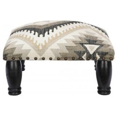 eclectic ottomans and cubes by Lulu and Georgia