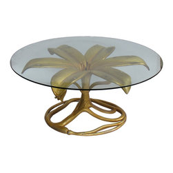 Arthur Court - Consigned - Arthur Court Gilded Lily Cocktail Table Base - Glamorous gilded lily cocktail table designed by Arthur Court in the 1970s. Table is made of gilded aluminum and is a classic Court design.