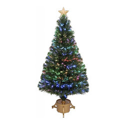 None - 48-inch Multi-color LED Fiber Optic Tree - Add some Christmas cheer this season with this four-foot tree. With shining colors and a shiny gold base,this tree is the perfect way to celebrate the holidays.