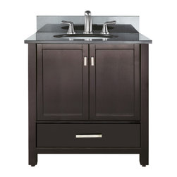 Avanity - Modero 36 Vanity Combo Espresso, Black Granite Top - The Modero 36 in. vanity has a simple clean design with a rich expresso finish and brushed nickle hardware. It is constructed of solid poplar wood and veneer with soft-close doors and drawers that showcase its quality. The vanity combo includes a black granite counter top and undermount sink. Add the coordinating mirror, mirrored storage cabinet or linen tower to complete the look of your bathroom.