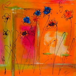 """""""Springtime"""" (Original) by Amy Tuso - """"Springtime"""" is a vibrant acrylic and ink contemporary abstract joyful painting with the artwork wrapped around the edges making it ready to hang."""