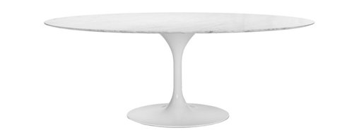 IMPORT LIGHTING & FUNITURE - 79'' Oval Marble Tulip Table (White) - The Eero Saarinen Style Marble Oval Table is a high quality reproduction in the style of the original design. With the mid point of the last century came huge advances in material technology and manufacturing processes, new plastics, resins and fibreglass could be mass produced quickly, efficiently and with consistent results. These developments provided exciting opportunity in many areas; not least of all for furniture design and prompted a new era of industrial design. In 1956 Eero Saarinen designed a complimentary range of tables and chairs which he named the Tulip range because of the slender, elegant stem like pedestals and organic shapes that typified the pieces. As with his namesake Eero Aarnios' designs the experimental use of materials and minimalist forms are often considered to be space age and their appeal has outlived the period in history from which they originated. This oval Tulip Table is inspired by Eero Saarinen. It is elegant and practical, a credit to your kitchen or dining room.