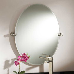 "31"" Prague Oval Tilting Mirror - An ideal accent to a modern bathroom, the frameless 31"" Prague Oval Tilting Mirror is held on either side by contemporary, solid brass brackets."