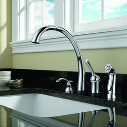 "Delta - Delta 4380-SD-DST Chrome Pilar Pilar Side Spray Kitchen Faucet with - Product Features:    Made in the U.S.A. (Manufacturing plants: Greensburg, Indiana; Jackson, Tennessee)Fully covered under Delta s limited lifetime warranty  All-brass faucet body and handle construction  Superior finishing process - faucet finish covered under lifetime warranty  Insulated side spray included  Sleek design coupled with the latest valve technology  Spout swivels 180 degrees to allow for unobstructed sink access  High-arch gooseneck spout further allows for unobstructed sink access  Includes top-fill soap/lotion dispenser in matching finish    Product Technologies:    Diamond Seal: Delta DIAMOND Seal Technology utilizes a ceramic disc valve with a real diamond coating to produce a faucet that will last up to 5 million uses. That s an amazing 10 times the industry standard, guaranteeing a lifetime of leak-free, trouble-free performance.  Eco Friendly: Through a number of technologies and innovations, Delta's Eco Friendly faucets achieve the impossible: A faucet that feels like more water, while actually conserving water. There are many advantages to this beyond helping protect our nation's water resources. First, Delta's Eco Friendly faucets splash less; you won't have to wipe your counters as much. Second, they use less hot water, preserving your hot water supply and reducing associated water-heating costs. Third, you will feel a little less guilty leaving the water running for longer periods.    Product Specifications:    Overall Height: 13"" (measured from counter top to highest point of faucet)  Spout Height: 9-3/4"" (measured from counter top to faucet outlet)  Spout Reach: 10-1/2"" (measured from center of faucet base to center of faucet outlet)  Number of installation hol"