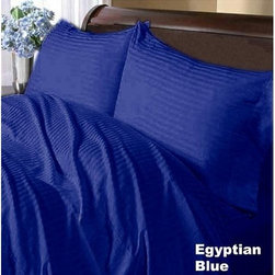 SCALA - 600TC Stripe Egyptian Blue Full XL Flat Sheet & 2 Pillowcases - Redefine your everyday elegance with these luxuriously super soft Flat Sheet . This is 100% Egyptian Cotton Superior quality Flat Sheet that are truly worthy of a classy and elegant look.