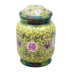 "Oriental Furniture - 6"" Yellow Tea Canister - This colorful tea canister will hold all of your teas in one convenient place and keep them fresh with a convenient seal on the lid. Decorated with a brightly colored floral pattern and Chinese characters representing a blessing for long life, this tea jar makes a striking display on a shelf or mantel."
