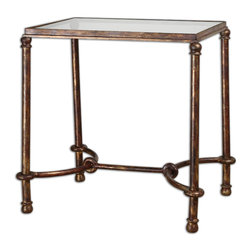 Uttermost - Warring Iron End Table - Inspired by ancient horse bridles, this forged iron accent table is a blending of rings and curves finished in rustic bronze patina. The top is made of clear, tempered glass. Bulbs Included: No