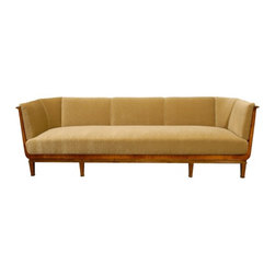 EcoFirstArt - Swedish Art Deco Birch and Satinwood Sofa in Donghia Wool Mohair - This sofa has history! Lovingly restored to surpass its original splendor, the art deco piece makes a stunning statement in your favorite modern setting. The wood frame, originally crafted in dark flame birch, is now impeccably upholstered in wool mohair.