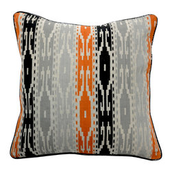 "Villa - Tunisia Print Stripe Pillow Set of 2 - Simply spectacular, the on-trend Tunisia Print pillows lend an exotic look to the living room or bedroom. Finished with clean knife edges, zesty orange pairs with smoke and charcoal gray on a natural linen background to create their geometric pattern. 18"" Sq; Set of two; 100% linen; Includes 95/5 feather down pillow insert; Hidden zipper closure; Hand wash"