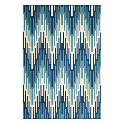 "Momeni Rug - Momeni Rug Baja 7'10"" x 10'10"" BAJ-6 Blue BAJA0BAJ-6BLU7AAA - Create the ultimate indoor/outdoor oasis of your dreams with the Baja Collection. Lively patterns, bright and bold color choices and long lasting durability make these rugs ideal for the sun room or patio. Exciting colors and gorgeous graphic patterns make the Baja Collection not to be missed."