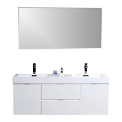 "Aqua Bath - Bliss 60"" White Wall Mount Double Sink Modern Bathroom Vanity, Aqua Rondo Faucet - Please see ""Configuration"" to select your Free Faucets."
