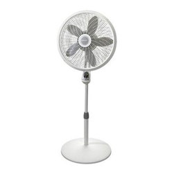 "Lasko - 18"" Adjustable Cyclone Pedestal Fan, 3 Speeds, White - The Lasko 1885 18-Inch Adjustable Cyclone Pedestal fan, in white, will cool off large rooms and spaces quickly with its swirling cyclone grill! Plus, it features a Multi-Function remote control and a programmable timer for 1, 2 or 4 hours of air circulation. It also has 3 quite speeds, wide area oscillation, a Tilt-Back feature and is fully adjustable up to 53.5 inches. Assembly is simple with no tools needed. This powerful fan includes a patented fused safety plug and is ETL listed. Pedestal fan powerfully cools the largest home spaces."