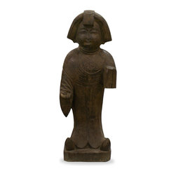 China Furniture and Arts - Hand Carved Stone Tang Lady Statue - Hand-carved from one piece of stone, this figurine statue exemplifies the Tang (circa 618) aesthetic which defined female beauty as voluptuously earthy. A great work of art and craftsmanship. Imported from China.