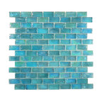 "Glass Tile Oasis - Oceanic Uniform Brick Blue Bricks Glossy & Iridescent Glass - Sheet size:  11 7/8"" x 11 7/8""        Tile Size:  3/4"" x 1 5/8""        Tiles per sheet:  98        Tile thickness:  1/4""        Grout Joints:  1/8""        Sheet Mount:  Plastic Face        Sold by the sheet    -"