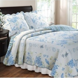 Greenland Home Fashions Coral - 2 Piece Quilt Set - Blue - About Greenland Home FashionsFor the past 16 years, Greenland Home Fashions has been perfecting its own approach to textile fashions. Through constant developments and updates - in traditional, country, and forward-looking styles – the company has become a leading supplier and designer of decorative bedding to retailers nationwide. If you're looking for high quality bedding that not only looks great but is crafted to last, consider Greenland.