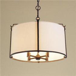 Loft Shade Chandelier - I love the color brass and drum shade, to me this shade is traditional and modern, would look great over a table, two over and island or evening in a living or bedroom. Very versatile.