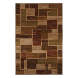 Mohawk Home - Mohawk Pembroke Woodstock Rust Contemporary Patch 2'1 x 3'8 Rug (9612) - This geometric block design rug features a pattern containing brown, burgundy and beige.  Unsurpassed in quality and style without sacrificing affordability, Mohawk Home