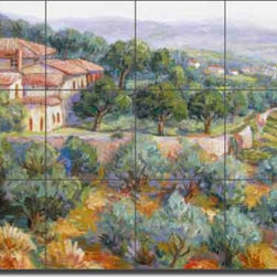 "Artwork On Tile - Ceramic Tile Mural Backsplash Morris Tuscan Landscape Art 24"" x 18"" - JM117 - * 24"" w x 18"" h x .25"" Ceramic Tile Mural on Architectural Grade, 6"" Tile w/Satin Finish"