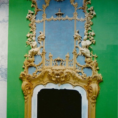 English rococo fireplace mantel and mirror - English rococo fireplace mantel and mirror hand carve in pine - later to be gilded