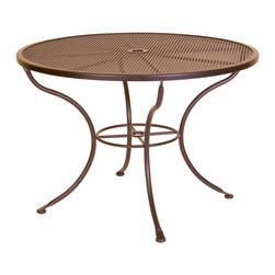 """Micro Mesh 42"""" Round Dining Table with 2"""" Umbrella Hole - Dimensions -"""