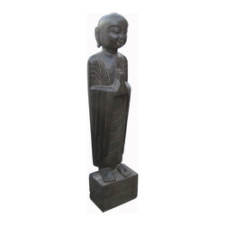 Golden Lotus - Chinese Black Solid Stone Standing Hand Carving Monk Statue - This is a Chinese antique standing monk which is made of solid black stone.  Especially, its body comes with very detail carving on it.  It should be a gorgeous garden statue.
