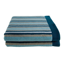 Combed Cotton 550 GSM Stripe Bath Sheet Set - Seafoam - Featuring an attractive stripe pattern these towels add color and beauty to any bathroom. With 550 GSM these luxurious towels are super soft and absorbent, while being durable and long lasting. This set includes two oversized bath towels known as Bath Sheets(30x52 each).