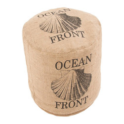 Jaipur Rugs - Rustique Shell Pouf - Rustique pillows and poufs are burlap printed with coastal accents.