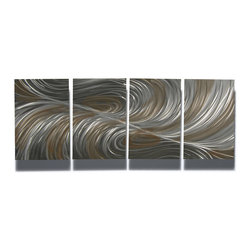 Miles Shay - Metal Art Wall Art Decor Abstract Contemporary Modern Sculpture- Echo Bronze - This Abstract Metal Wall Art & Sculpture captures the interplay of the highlights and shadows and creates a new three dimensional sense of movement as your view it from different angles.