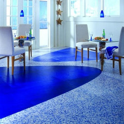 "Centiva Vinyl - Centiva Victory Mineral Chip Blue Agate 18"" x 18"" Floor Tiles."
