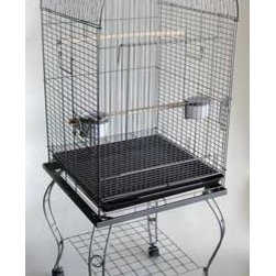"YML - Dome Top Parrot Cage with Stand - Features: -Parrot cage. -Large swing out door. -2 Feeder doors and 2 plastic cups. -2 Perches. -Easy clean removable metal grate. -Easy clean slide out bottom plastic tray. -Non-toxic epoxy. -Stand with caster. Specifications: -Bar spacing: 0.63"". -Cage dimensions: 35.5"" H x 18"" W x 20"" D. -Overall dimensions: 58"" H x 18"" W x 20"" D."