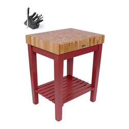 John Boos - John Boos CU-CB3024S-BN Barn Red Work Table (30x24 inch) with Shelf and bonus He - Constructed with durable maple,this barn red preparation table adds rustic farmhouse style and a convenient work space to your kitchen decor. A bonus maple cutting board comes with this set,making it easy to slice and dice ingredients on the go.