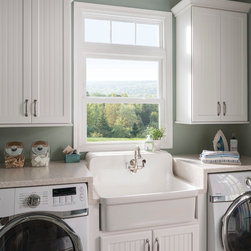 Laundry Room Window: Double Hung - White double hung vinyl replacement window from Feldco.