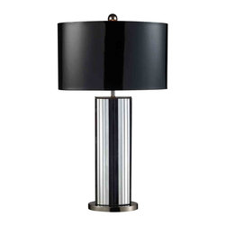 Dimond Lighting - Dimond Lighting D1893 Shreve Black Table Lamp - Shreve Table Lamp in Mirror and Black Nickel with Oval Black Patent Shade and Silver Liner