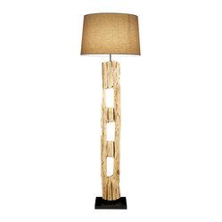 Scandinavian design old farm post floor lamp winter for Rustic floor reading lamp