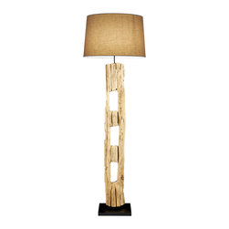 Scandinavian Design - Old Farm Post Floor Lamp - Winter Bleached Floor lamp made of natural Old Teak that was once an old farm Post comes with coarse linen shade, this lamp is Trully one of a kind, On line On/Off Foot switch, UL Listed, One 60 Watts Bulb Socket