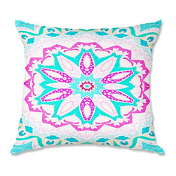 DiaNoche Designs - Pillow Woven Poplin from DiaNoche Designs by Monika Strigel Fairy Heaven Mint I - Toss this decorative pillow on any bed, sofa or chair, and add personality to your chic and stylish decor. Lay your head against your new art and relax! Made of woven Poly-Poplin.  Includes a cushy supportive pillow insert, zipped inside. Dye Sublimation printing adheres the ink to the material for long life and durability. Double Sided Print, Machine Washable, Product may vary slightly from image.
