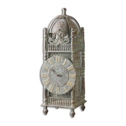 Uttermost - Yaxha Aged Table Clock - Made from iron, this clock features a light chestnut brown finish with a heavy sage green glaze. Quartz movement.