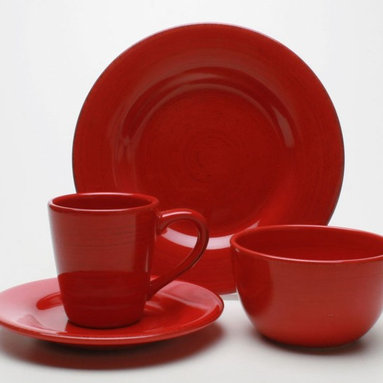 Tag Everyday - 16 Pc Sonoma Dinnerware Set in Red (Slate Blu - Color: Slate BlueIncludes four each of dinner plate, salad plate, cereal bowl and mug. Hand painted with distressed strokes. Microwave and dishwasher safe. Mix and match colors. Made from ironstone