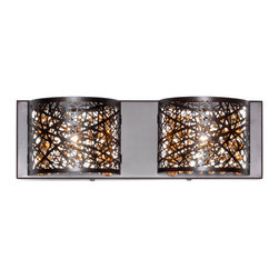 ET2 Lighting - ET2 Lighting E21315-10BZ Bronze Inca 4.25 Wide 2-Bulb Bathroom Light Fixture - Product