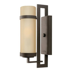 Hinkley Lighting - Cordillera Outdoor Wall Sconce by Hinkley Lighting - Long and lean, the Hinkley Lighting Cordillera Outdoor Wall Sconce illuminates the outdoors with warm light and Art Deco styling. Includes a cylindrical light amber etched glass shade to complement the rich tone of the metal base in a Buckeye Bronze finish. Comes in three sizes to accommodate any front porch or backyard space.Cleveland-based Hinkley Lighting is driven by a passion to combine design and function to create exceptional lighting solutions. Family-owned Hinkley began as a traditional lantern company in 1922, and, still today, they produce top quality outdoor lighting. Hinkley Lighting has also expanded to include a full range of interior lighting solutions, including chandeliers, sconces, pendants and vanity lights.The Hinkley Lighting Cordillera Outdoor Wall Sconce is available with the following:Details:Cylindrical Light Amber Etched glass shadeMetal constructionBuckeye Bronze finishRectangular wall plateUL ListedOptions:Lamping: Fluorescent, or Incandescent.Size: Large, Medium (shown), or Small.Lighting:Fluorescent option utilizes one 26 Watt 120 Volt Type GU24 Compact Fluorescent lamp (included).Incandescent option utilizes one 100 Watt 120 Volt Medium Base Incandescent lamp (not included).Shipping:This item usually ships within 7 days.