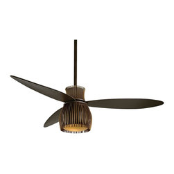 """Minka Aire - 56"""" Minka Aire Uchiwa Bronze and Brass Finish Ceiling Fan - This functional modern art creation by Minka Aire will enhance even the most sophisticated room. The functional modern art Uchiwa ceiling fan from Minka Aire is a sophisticated addition. It features a multi-layered composition of oil rubbed bronze and tarnished brass finishes. The three blades have an oil rubbed bronze finish. This fan features a 56"""" blade span; 20 degree blade pitch; and a 172 x 25mm motor size. Lifetime motor warranty. Includes a wall control and an integrated halogen light kit with tinted opal glass. 3 1/2"""" and 6"""" downrods included. (UM)"""