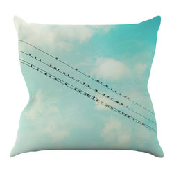 """Kess InHouse - Sylvia Cook """"Birds on Wires"""" Teal Sky Throw Pillow (20"""" x 20"""") - Rest among the art you love. Transform your hang out room into a hip gallery, that's also comfortable. With this pillow you can create an environment that reflects your unique style. It's amazing what a throw pillow can do to complete a room. (Kess InHouse is not responsible for pillow fighting that may occur as the result of creative stimulation)."""