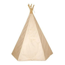 Dexton 6 ft. Round Door Teepee - Whether it's the great outdoors or your own living room frontier, the Dexton 6 ft. Round Door Teepee lets your kids enjoy a sanctuary they can call their own. Based on a traditional Tipi, this tent design is a bit more user-friendly with a construction of natural cotton canvas and sturdy wood poles. This canvas can also be painted and customized as desired. It's easy to set up, water-repellent, fire-resistant, and comes complete with five wooden lacing pins.About DextonDexton has been manufacturing distinguished, high-quality children's musical instruments and ride-ons for over 10 years. Located in the Orange County area of Southern California, its factories produce 50 of the most popular musical instruments to professional standards that music teachers prefer. Dexton also produces a wide assortment of battery-powered and pedal car ride-ons, as well as children's furniture. Dexton uses the highest-quality wood, leather, and chrome-plated steel when manufacturing its safe, kid-friendly products.