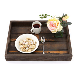 (del)Hutson Designs - Reclaimed Wood Serving Tray - Dark Walnut - These are made 100% out of reclaimed wood. Each item we make is hand crafted by a person. We sand these to a find finish. Every smooth to touch.