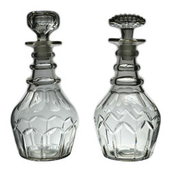 Lavish Shoestring - Consigned 2 Cut Glass Ring Neck Decanters, Antique English Georgian, circa 1800 - This is a vintage one-of-a-kind item.