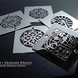 Designer Drains - Square Drains - I finally had some time to make some our designs into square motifs. Some of the drains I redesigned to fit the square format. All are made from polished stainless steel.